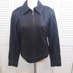 Cabi black leather jacket coat sz 8